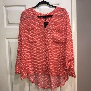 NWT Jones New York orange polka dot blouse XL